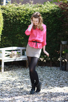 hot pink Primark blouse - black H&M blazer - off white H&M skirt