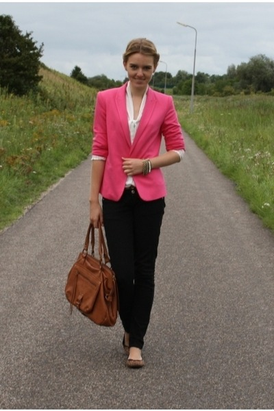 3b8d9cf65 hot pink Zara blazer - black Bershka pants - white thrifted top