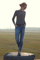 turqouise Primark necklace - H&M jeans - stripes Primark top