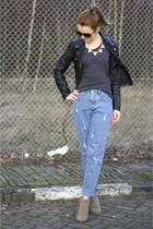 boyfriend vintage jeans - dicker suede Isabel Marant boots - leather H&M jacket