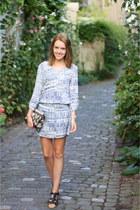 blue boho bohemian H&M dress - black boho bohemian Primark bag