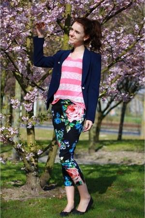 black floral H&M pants - navy Mango blazer - pink knitted Primark shirt