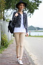 Peach-supertrash-jeans-gray-cheap-monday-jacket-white-costes-top