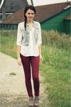 tan Primark boots - brick red burgundy skinny Primark jeans - blue H&M vest