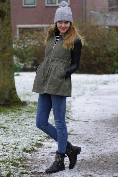 army green diy DIY jacket - leather H&M jacket - studded Alysa boots