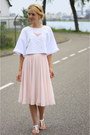 Light-pink-h-m-skirt-white-cropped-croptop-h-m-top-white-primark-sandals