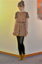 neutral chiffon 11 euro Primark dress - brown suede 19 euro Zara boots