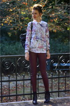violet floral scuba Vero Moda sweater - brick red leather skinny H&M pants