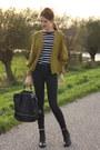 Black-topshop-jeans-olive-green-thrifted-vintage-blazer-black-primark-bag