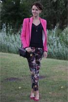 hot pink Zara blazer - navy Zara jumper - light pink floral Mango pants