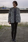 Heather-gray-faux-fur-h-m-coat-navy-isabel-marant-top