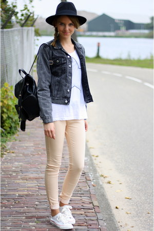 gray Cheap Monday jacket - peach SuperTrash jeans - white costes top