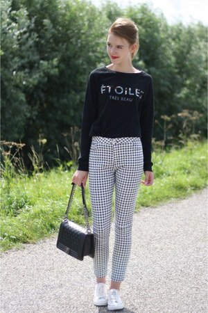 white Primark jeans - black Mango sweater