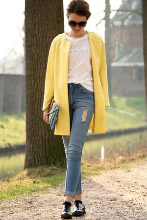 yellow Primark dress - blue Cheap Monday jeans - off white Primark shirt