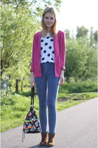tawny suede Zara boots - blue Topshop jeans - hot pink boyfriend thrifted blazer