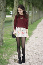 brick red H&M sweater - black ankle Primark boots