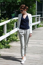 white allstars Converse shoes - navy Zara sweater - white white Zara blazer