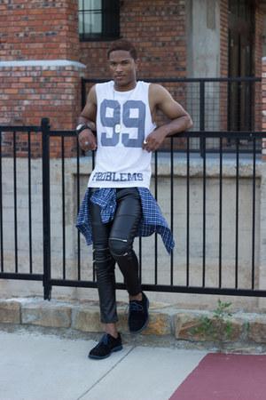 white Zara shirt - black leather pants Zara pants