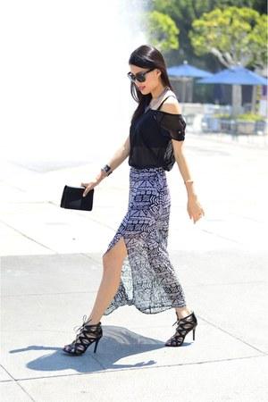 Forever 21 skirt - black sheer blouse Target top - black Target heels