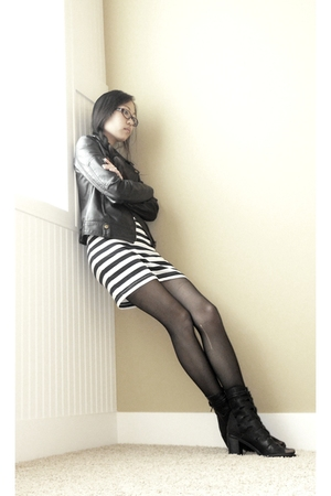 black Silence & Noise jacket - blue Forever 21 dress - black - black - black Jef