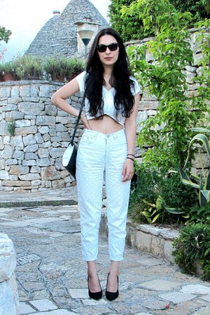 white vintage pants - black Celine bag - black Ray Ban sunglasses