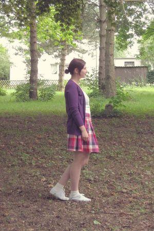 purple Zara cardigan - white asos shirt - purple modcloth skirt - white Topshop