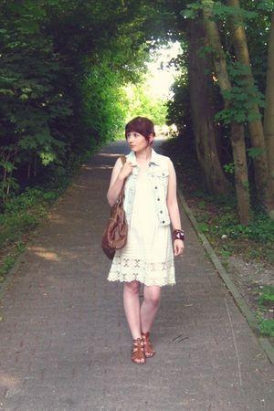 white Topshop dress - blue modcloth vest - brown H&M accessories - brown H&M bra