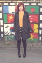 black asos dress - black Zero coat - mustard Topshop jumper