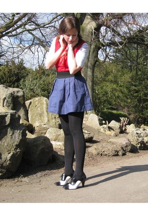 white benetton blouse - red benetton vest - red asos scarf - blue modcloth skirt