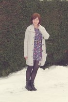 silver H&M cardigan - purple Dahlia dress - black Primark tights - black asos bo