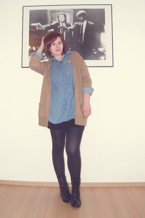 black asos boots - black H&M dress - blue H&M shirt - camel Topshop cardigan