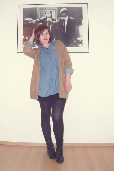 black asos boots - black H&M dress - blue H&M shirt - camel Topshop cardigan