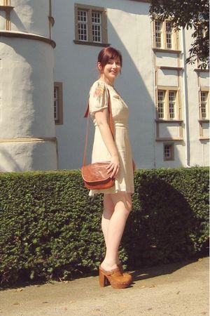 brown gift bag - brown Jeffrey Campbell shoes - beige Topshop dress