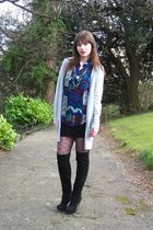 gray Zara cardigan - Motel blouse - black asos skirt - black Miss Selfridge tigh