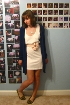 pink worn as belt vintage scarf - brown Target shoes - white Forever21 dress
