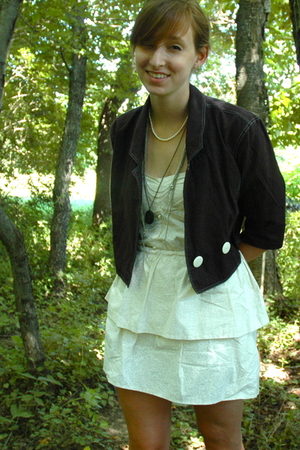 black vintage blazer - white DIY dress