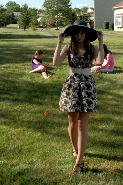 black Charlotte Russe hat - beige Urban Outfitters dress