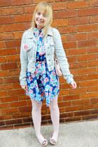 pink melissa vivienne westwood flats - blue floral Boohoo dress