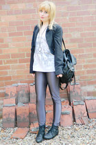 black Ebay boots - black Miss Selfridge jacket - black rucksack Primark bag