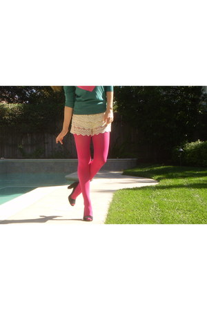 teal J Crew sweater - hot pink Forever 21 tights - beige Zara shorts