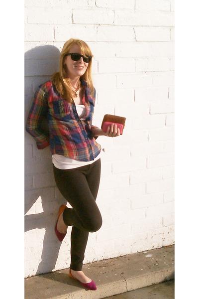hot pink Zara flats - charcoal gray Gap leggings - dark brown Ray Ban sunglasses