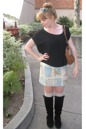 light blue thrifted hand made vintage skirt - black Urban Outfitters boots