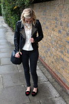leather Zara jacket - Topshop blouse - lips H&M loafers