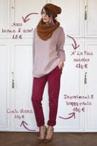 light pink A la fois sweater - brown asoscom scarf
