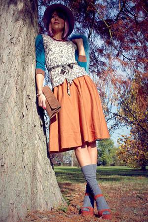 beige Borsalino hat - teal Aniye By cardigan - burnt orange asos skirt