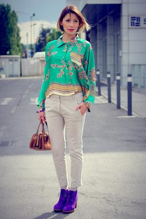 violet Paul Smith shoes - green Rinascimento shirt - brown vintage bag