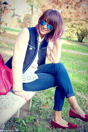 blue Zara jeans - navy DeHart blazer - neutral Zara shirt