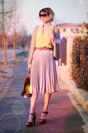 beige asos skirt - light yellow Mango shirt - crimson asos bag