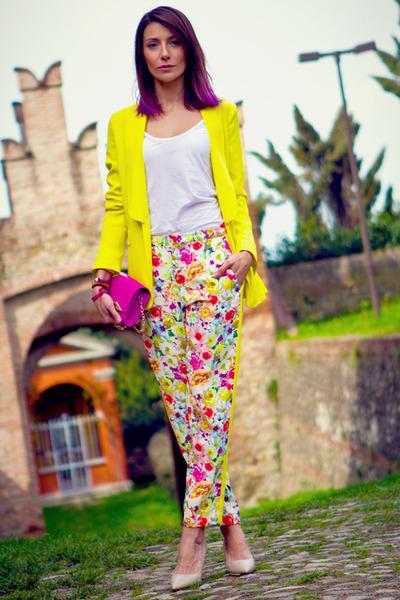 yellow MSGM jacket - hot pink Diane Von Furstenberg bag - hot pink MSGM pants