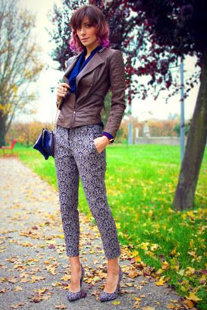 navy Pinko shoes - brown Pinko jacket - navy Pinko pants - blue Pinko blouse